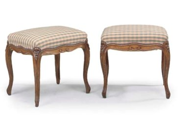 A PAIR OF BEECH STOOLS