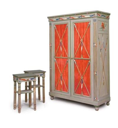 A PAIR OF FRENCH PAINTED BEDSI