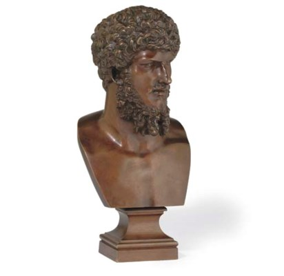A FRENCH BRONZE BUST OF LUCIUS