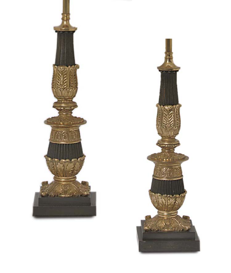 A PAIR OF BRONZE TABLE LAMPS