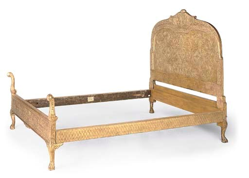A GILTWOOD AND COMPOSITION BED