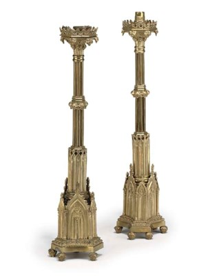 A PAIR OF VICTORIAN GILT-BRASS
