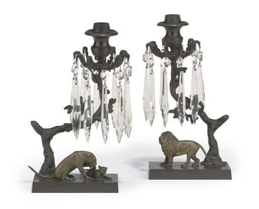 A PAIR OF REGENCY PATINATED AN
