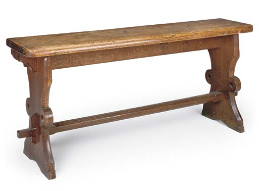 A VICTORIAN OAK HALL BENCH