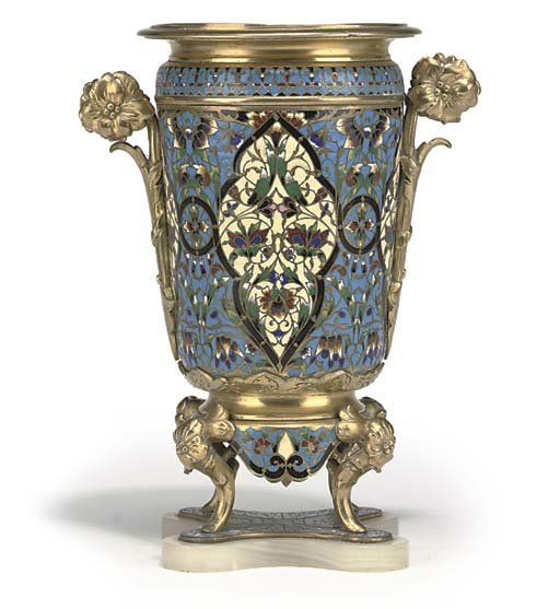 A FRENCH CLOISONNE ENAMEL AND
