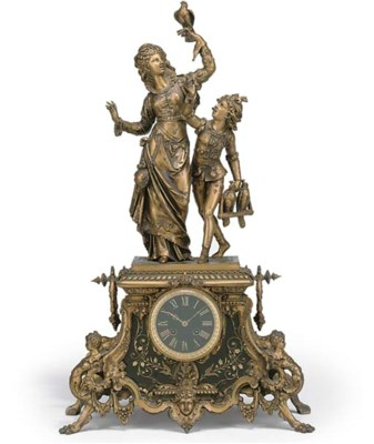 A FRENCH GILT-SPELTER AND MARB