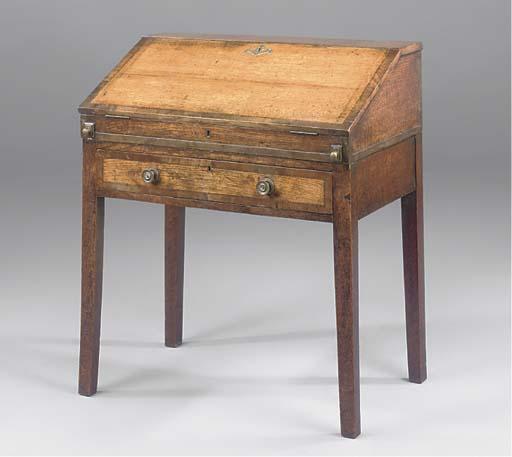 An oak and crossbanded clerk's