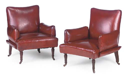 A PAIR OF RED LEATHER CLUB ARM