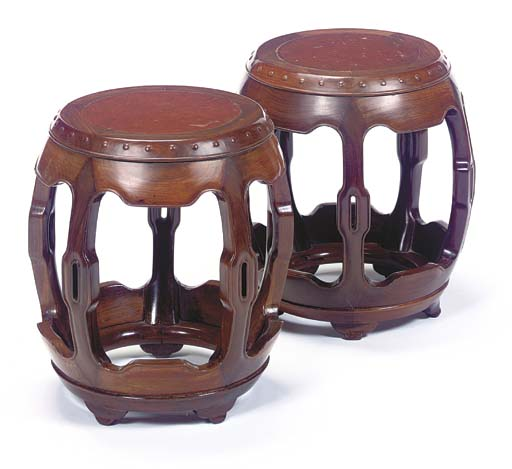 A PAIR OF CHINESE HARDWOOD LOW