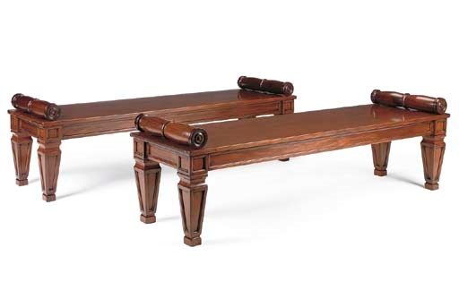 A PAIR OF MAHOGANY HALL BENCHE