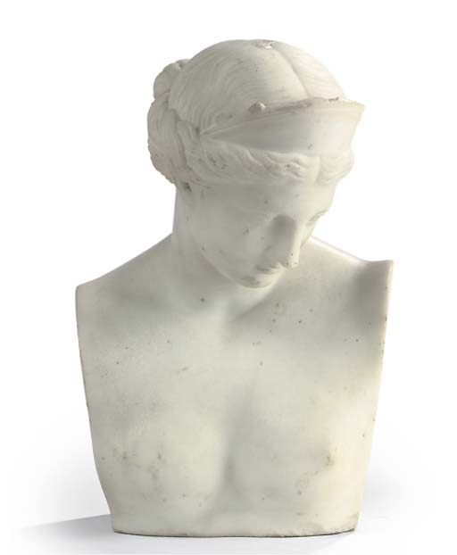AN ITALIAN CARVED WHITE BUST O