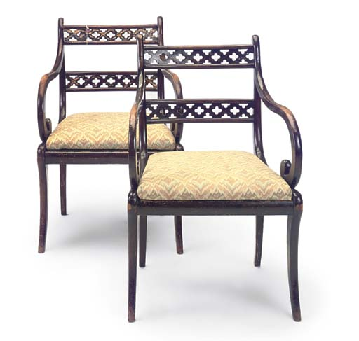 A PAIR OF REGENCY STAINED BEEC