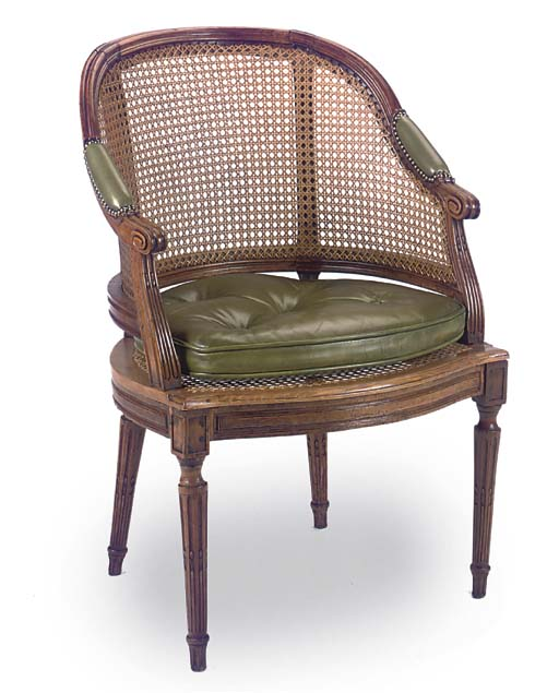 A FRENCH BEECH CANED BERGERE