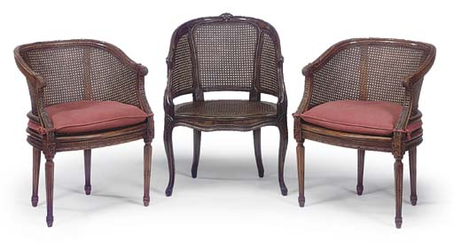 A PAIR OF FRENCH BEECH CANED B