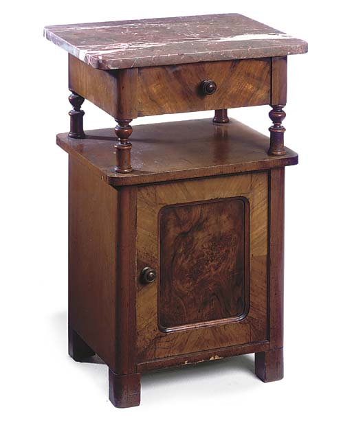 A GERMAN MARBLE TOP BEDSIDE CA