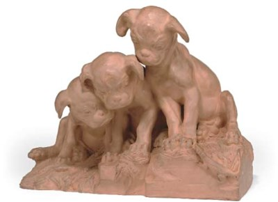 A FRENCH TERRACOTTA GROUP OF B