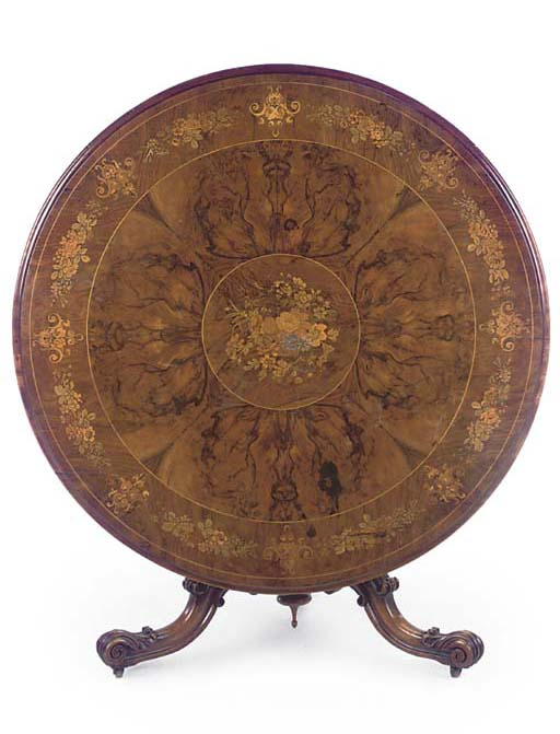 A VICTORIAN WALNUT AND FLORAL