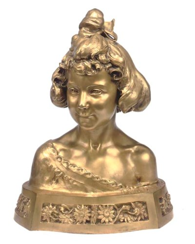 A FRENCH GILT-BRONZE BUST OF A