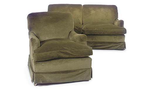 A HOWARD SOFA AND MATCHING ARM