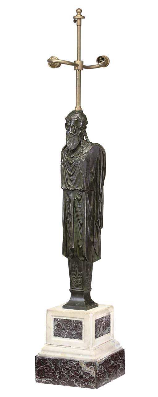 AN ITALIAN BRONZE AND MARBLE T