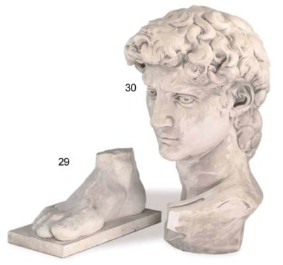 A MONUMENTAL PLASTER BUST OF D