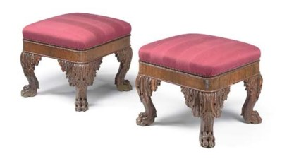 A PAIR OF ROSEWOOD AND UPHOLST