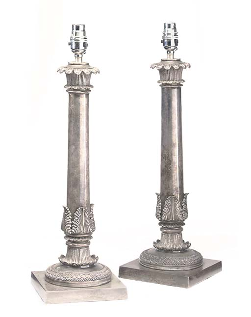 A PAIR OF SILVERED BRASS TABLE