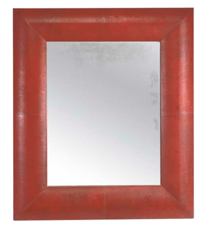 A LARGE RED LEATHER FRAMED MIR