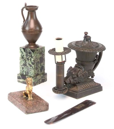 A REGENCY BRONZE COLZA LAMP