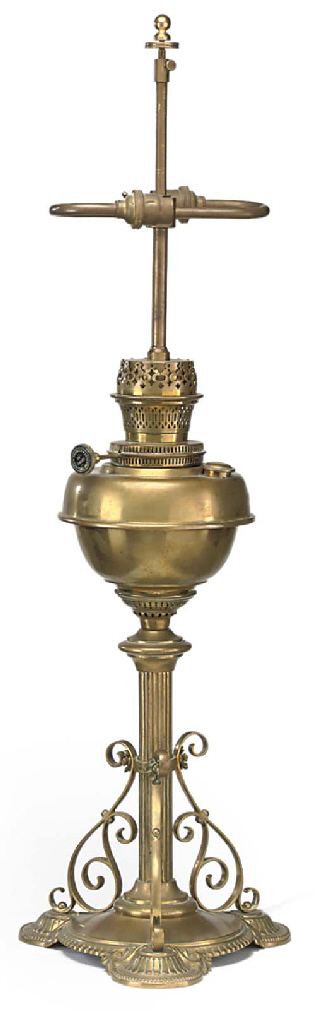 AN EDWARDIAN BRASS OIL LAMP