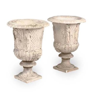 A PAIR OF PLASTER KRATER VASES