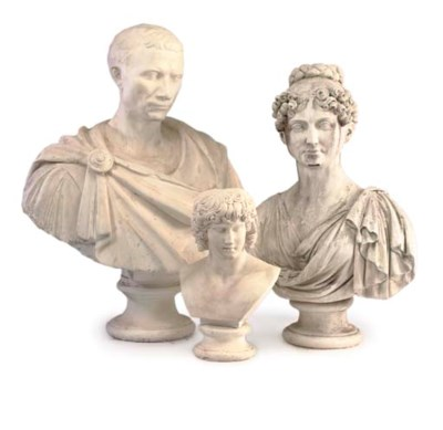 A PLASTER BUST OF A CLASSICALL