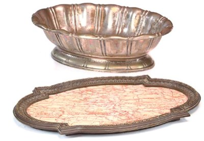 A BRONZE AND VARIEGATED MARBLE