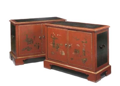 A PAIR OF RED, GILT-JAPANNED A