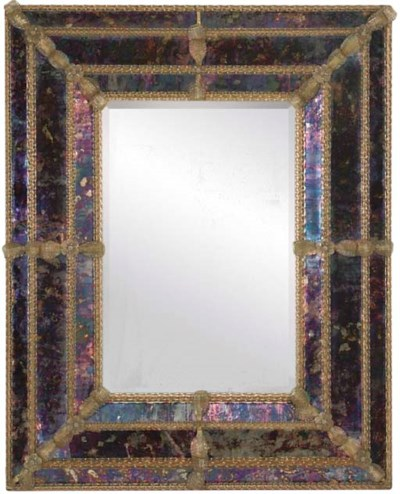 A COLOURED GLASS FRAMED RECTAN