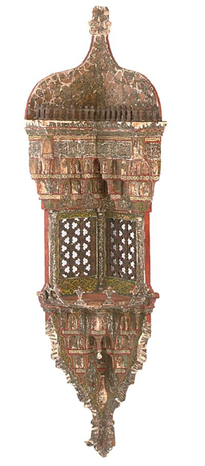 A MOROCCAN POLYCHROME CARVED A