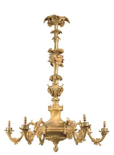 A gilt brass six-light chandel