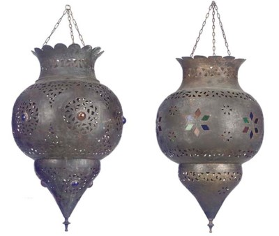 TWO MOROCCAN BRASS TEMPLE LANT