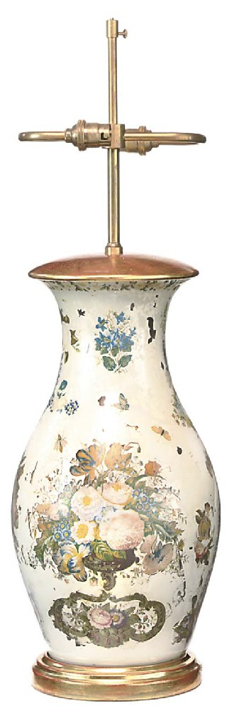 A FRENCH DECLOMANIA GLASS VASE
