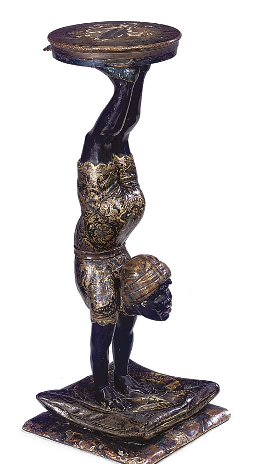 A VENETIAN POLYCHROME AND GILT DECORATED BLACKAMOOR STAND