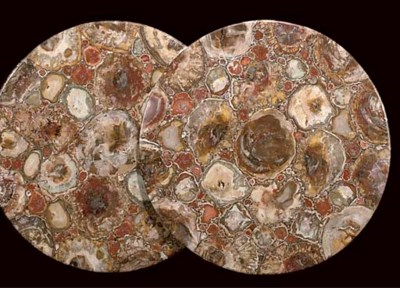 A PAIR OF SCAGLIOLA AND FOSSIL
