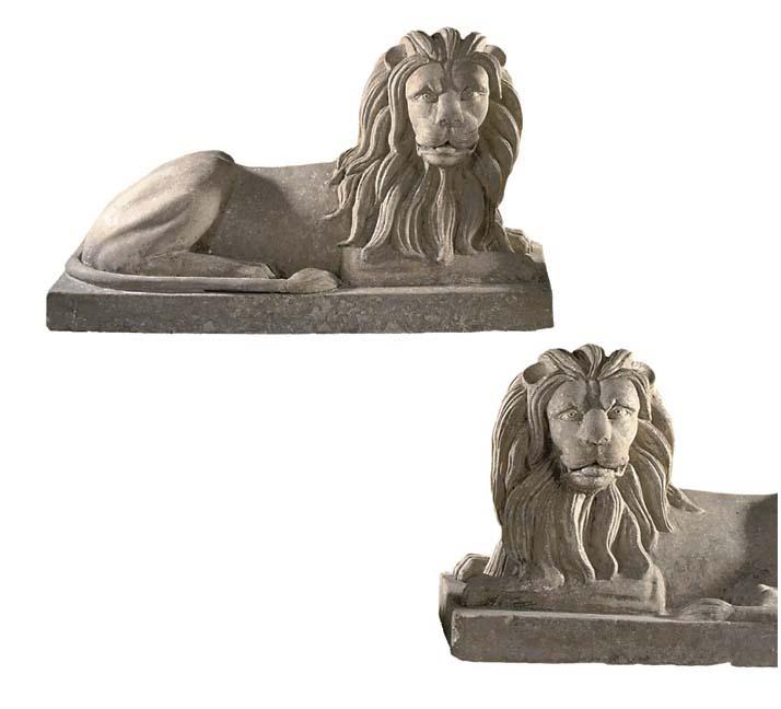 A PAIR OF SCOTTISH STONEWARE MODEL OF RECUMBENT LIONS