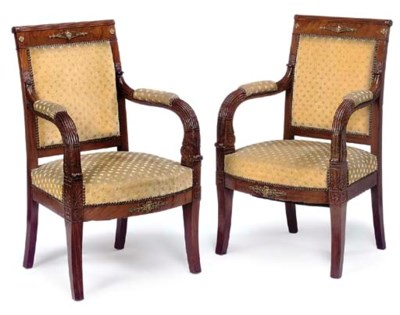 A PAIR OF FRENCH EMPIRE GILT M