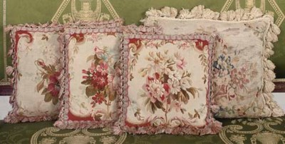 THREE AUBUSSON FLORAL TAPESTRY