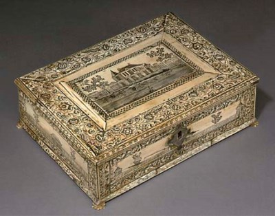 AN INDIAN IVORY TABLE CASKET