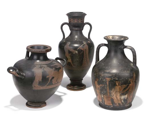 A GROUP OF THREE ATTIC VASES