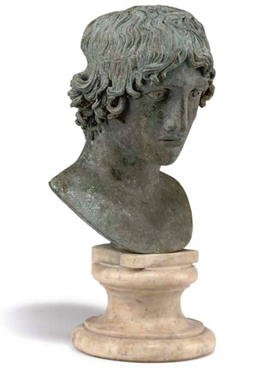 A BRONZE HEAD OF NARCISSUS