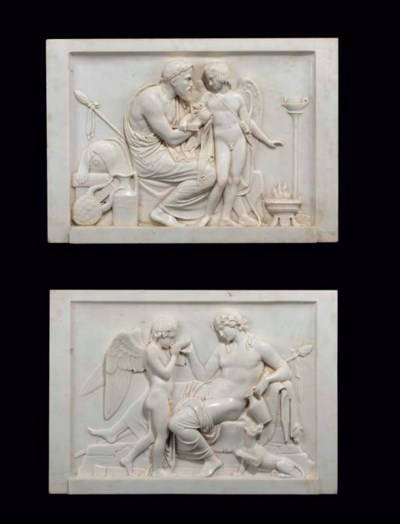 A pair of white marble relief