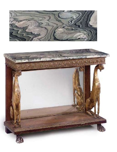 A ROSEWOOD AND GILT COMPOSITIO
