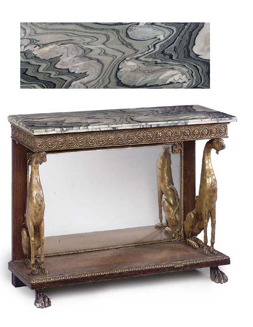 A ROSEWOOD AND GILT COMPOSITION CONSOLE TABLE